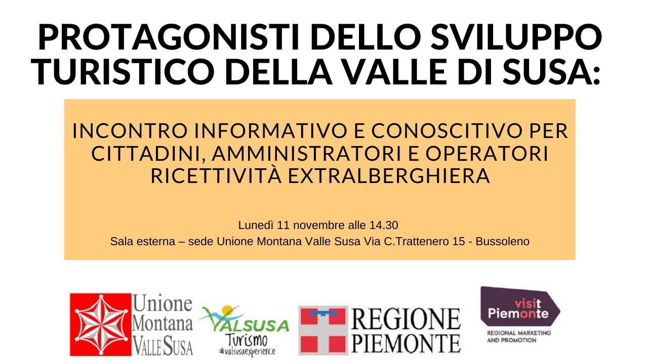 11 Novembre: Incontro informativo sulla ricettività extralberghiera in Val Susa