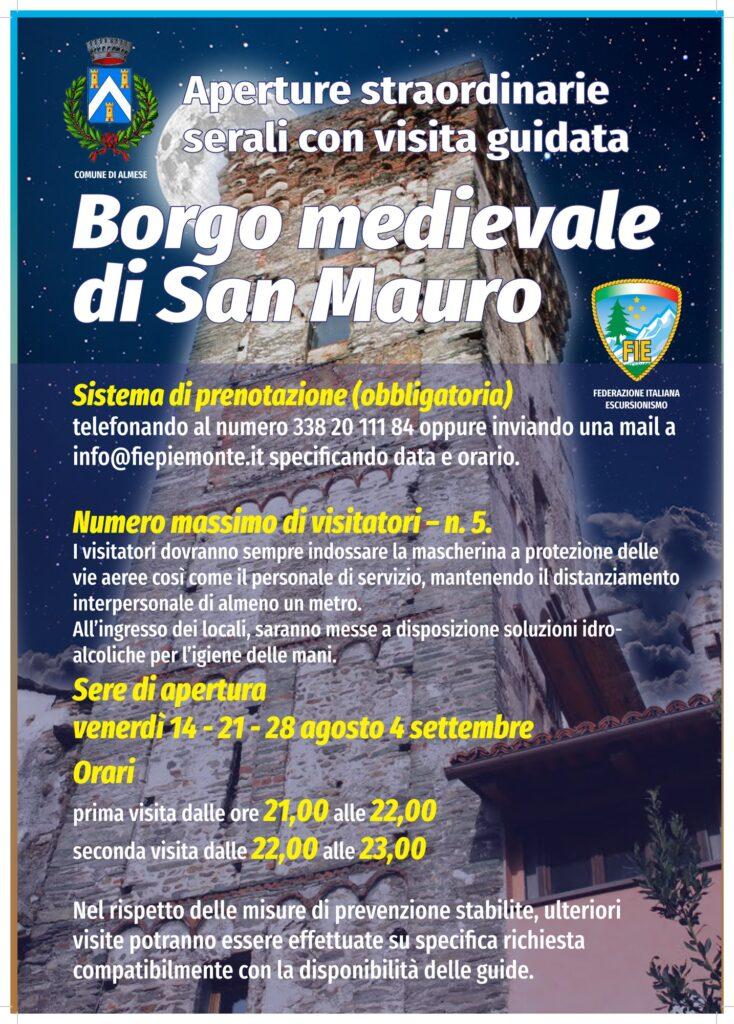 Apeture e visite serali a Borgo di San Mauro di Almese