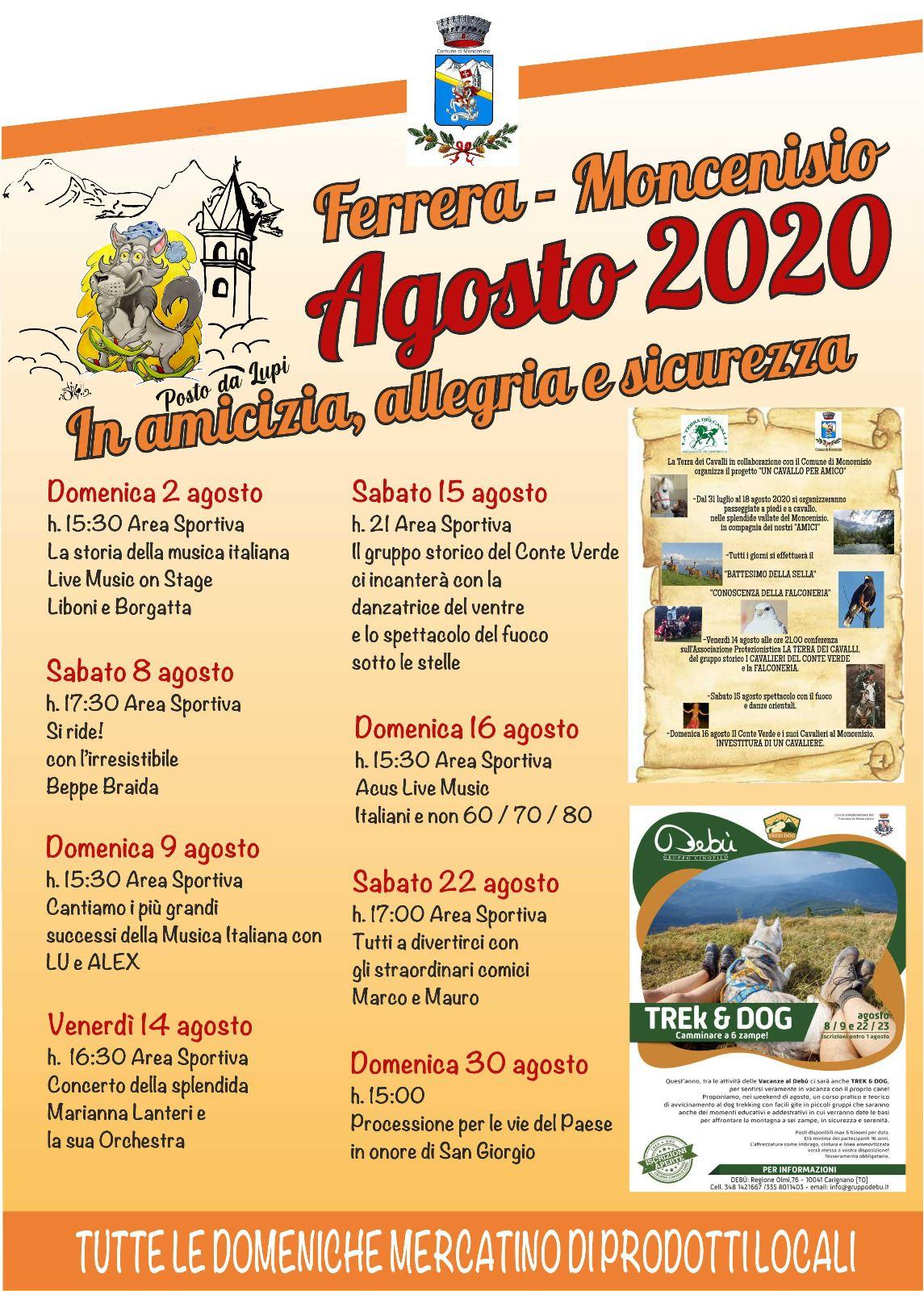 Calendario eventi Agosto Ferrera - Moncenisio