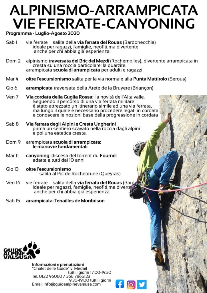 Proposte Guide Alpine ValSusa Alpinismo - Arrampicata - Vie Ferrate - Canyoning 1-15 Agosto 2020