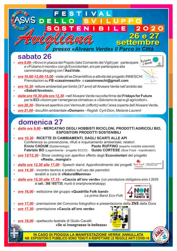 Programma festival della sostenibilità 2020 Avigliana